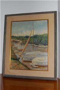 OIL PAINTING SIGNED CANVAS RENOWNED ARTIST ALICE BEVIN ARGENTINE YACHT