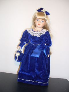 Beautiful Long Blonde Hair Big Blue Eyes Blue Velvet Outfit and Pearls