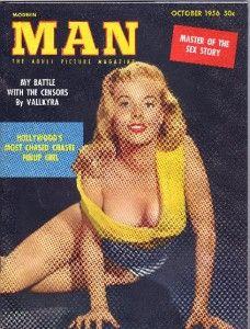 MAN MAGAZINE OCT 1956 MARILYN HANOLD BETTY BROSMER VALLKYRA CENSORSHIP