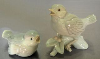 Vtg Otagiri Porcelain Grey Blue Song Bird Figurines Japan