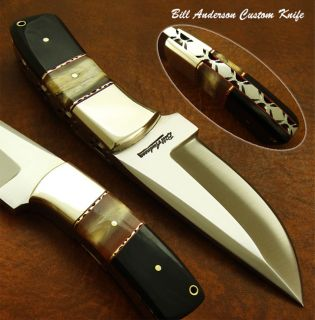 Bill Anderson 1 of A Kind Custom Made Skinning Knife Real Bull Horn