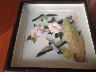 Vintage 3D Abalone Shell Asian Wall Art Birds Pictures