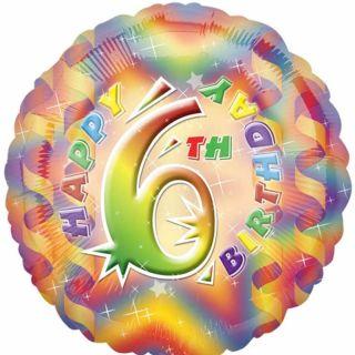 Colour Splash Streamers Party Happy 6th Birthday Round Foil Balloon