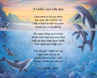 Dad Father Personalized Poem Birthday Fathers Day Gift Idea Dolphins