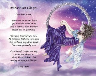 Gift for Aunt Personalized Poem Purple Fairy Print Christmas Gift Idea
