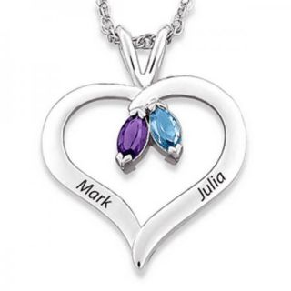 Sterling Silver Couples Marquise Birthstone Heart Name Necklace