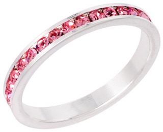 Sterling Silver Eternity Band Ring w/ Colored Crystal Birthstones