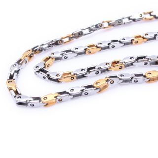 Stainless Steel Silver Gold Bike Chain Mens Necklace 22