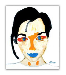 Bjork Portrait Original French Oil Painting Expressionist Modern Fine