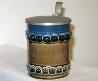 Bjorn Wiinblad Rosenthal Ceramic Beer Stein Mug Glass Mid Century