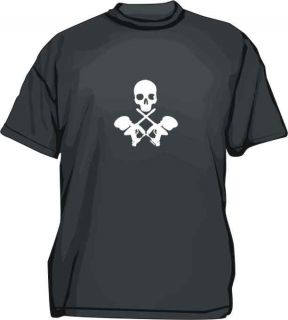 Crossed Paintball Guns with Skull Tee Shirt Pick SM 6XL