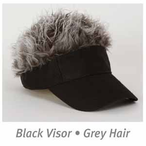 Billy Bob Flair Grey Gray Hair Black Hat Visor Funny Costume Accessory