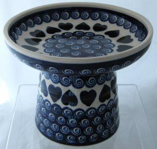 Polish Pottery Raised Cat Dog Wet Fresh Canned Food Dish Big Love Blue