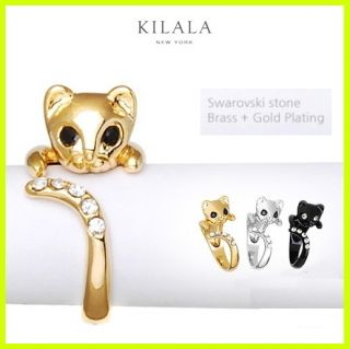 Jewelry Cat Kitty Ring Swarovski Crystals Sterling Black Silver Gold