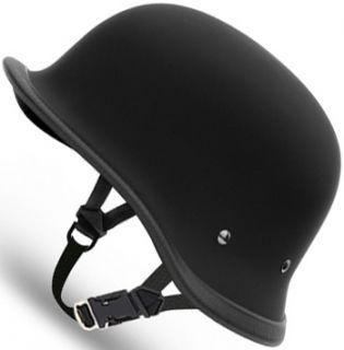 Flat Black Big German Daytona Novelty Motorcycle Half Helmet Low