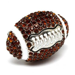Big Football Stretch Ring Brown Crystals Silver Tone Sports Adjustable