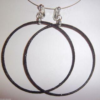 Black Glitter Thin Large Hoop Earrings J337 Juicebox Jewels USA