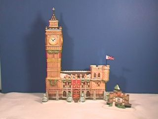Dept 56 BIG BEN Clock tower 2 Pc Includes FLAG Dickens Village Xlnt w