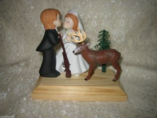Kissing Wedding Big Buck Deer Hunter Hunting Cake Topper