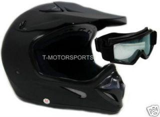 Flat Matte Black Dirt Bike ATV Motocross MX Helmet Off Road w Goggles