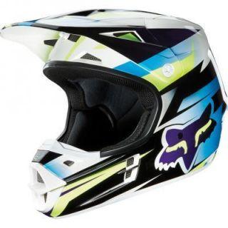 2013 Racing Costa Youth Large V1 Helmet Blue White Black Dirt Bike ATV