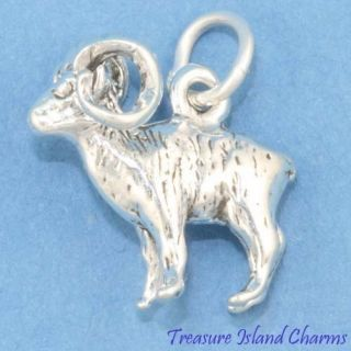 Bighorn Sheep RAM Aries Mouflon 3D 925 Solid Sterling Silver Charm