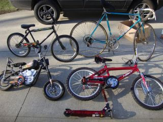 LOT OF 5 ASSORTED BIKES HUFFY BMX NEXT ROAD BIKE SCOOTER LOCAL PICK