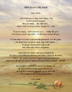 Personalized Poem for Sister Keepsake Gift for Sister