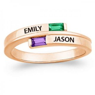 STERLING SILVER GOLD OVERLAY COUPLES BAGUETTE NAME BIRTHSTONE RING