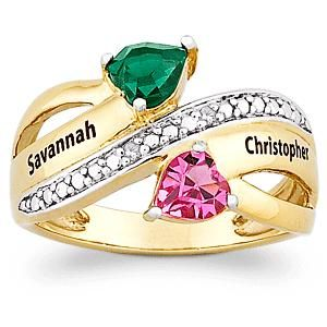 Couples Two Tone Gold Plated Heart Cut Name Birthstone Ring