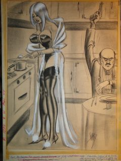 Bill Ward Signed Large Conte Crayon Original Humorama Mid Century Good