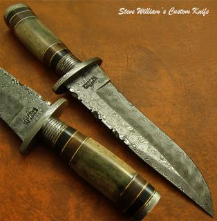 Steve William 1 of A Kind Custom Damascus Bowie Knife Fossil Girafe