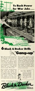 1942 Ad Black Decker Portable Electric Power Tools Drills WWII War