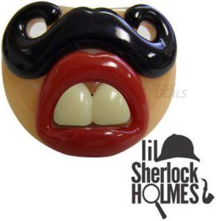 Billy Bob Pacifier Baby Funny Little Lil Sherlock Holmes Mustache Buck