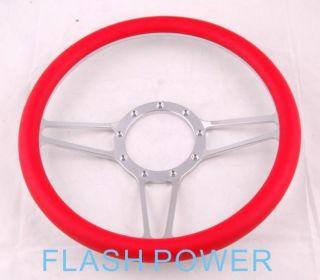 14 Universal Billet Aluminum 9 Hole Steering Wheel w Red Wrap Hot Rod