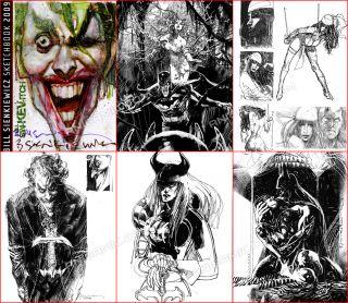 Bill Sienkiewicz Joker Batman Catwoman Elektra Poison Ivy Signed 2009