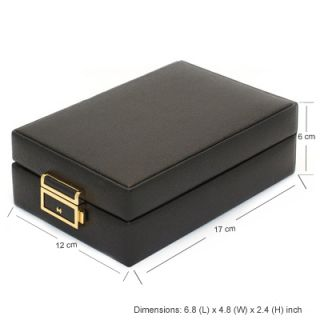 Retro Black Leather Jewellery Jewelry Box Case Necklace Earrings