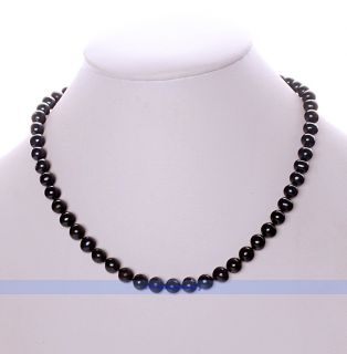 17 AAA 7 8mm Genuine Black Pearl Necklace FINDINGJEWELRY