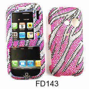 LG Script Cosmos Phone Cover Pink Zebra Bling 1548