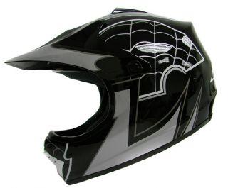 Youth Black Spider Dirt Bike ATV Motocross Off Road Dot Helmet MX S