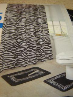 Print Black White Bath Shower Curtain Rug Mat Accessory Set