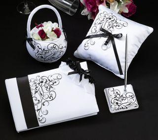 Black White Wedding Guest Book Pen Pillow Basket