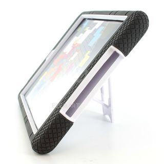Black White Double Layer Cover Case W/Kickstand + Touch Pen For Apple