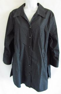 Free Shaped Fit Black & White Polka Dot Print Cotton 14 L Shirt