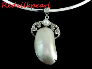 16 Gorgeous Natural White Freshwater Pearl Necklace Pendant Choker w