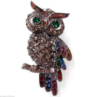 Vintage Colorized Crystal Owl Bird Pin Brooch BH7198