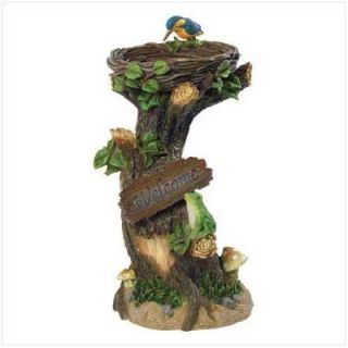 Birdfeeder Birdbath Tree Trunk Nest Bird Mushroom Frog Welcome Sign