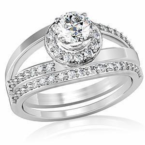 April Clear Birthstone Two Piece Lady Bridal Designer Wedding Ring Set