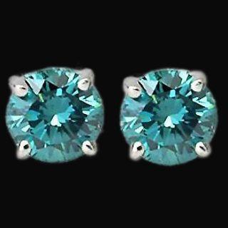 Carat Blue Diamond Earrings Stud Ear Ring White Gold New