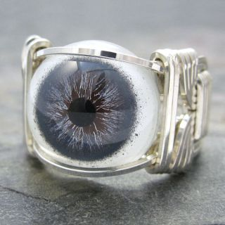 Slate Blue Glass Eye Eyeball Sterling Silver Wire Wrapped Ring Any